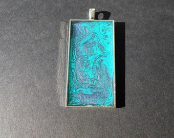 Teal & Purple Pendant - Long