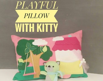 Playful Pillow with Kitty in the House - Children, Nursery, Decor, Toy, Pink, Kitty, Girl, Gift