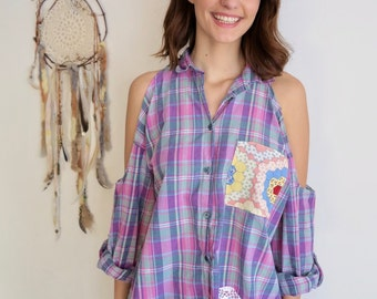 Plaid Crochet Patchwork Open Off The Shoulder Layering Flannel Oversized Eco Friendly Tunic/Top/Shirt Women's One Size