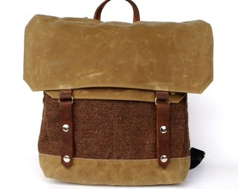 SALE Waxed Canvas Backpack / Padded Straps / Brown Herringbone Wool & Oiled Leather READY MADE