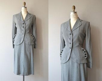 Buttoned Up suit | vintage 1950s suit | gabardine wool 50s suit