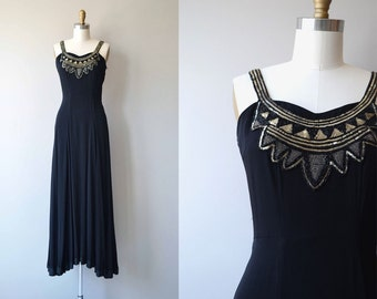Etemenanki dress | vintage 1930s dress | beaded long 30s dress