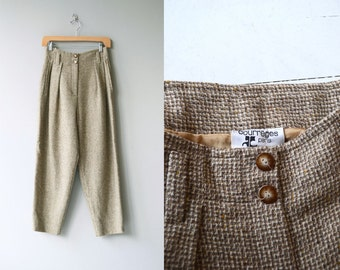 Courrèges tweed trousers | vintage 1970s Courrèges pants | high waisted wool pants