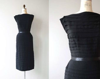 Private Invitation dress | vintage 1950s dress | black 50s cocktail dress