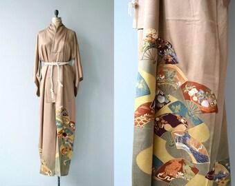 Sensu silk kimono | vintage 1950s kimono | japanese floral silk kimono