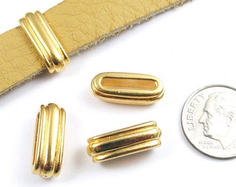 TierraCast Leather Cord Pewter Beads-Bright Gold DECO SLIDE ID 12x2mm (4)