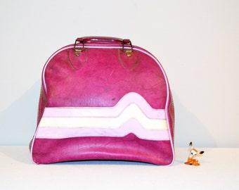 Vintage Bowling Bag Purple/Pink with Race Stripes