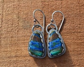 Azurite, Malachite and Sterling Silver Earrings, Handmade, USA stone