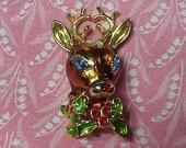Vintage Signed Christopher Radko Reindeer Enamel Christmas Brooch pin