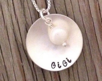 Sterling silver name pendant- hand stamped personalized gift for her custom charm necklace with freshwater pearl girlfriend Christmas gift
