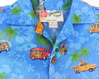 Vintage Authentic 1980s Hilo Hattie Size Medium Boy's Hawaiian Aloha Shirt , Blue Woody Surfer Palm Trees