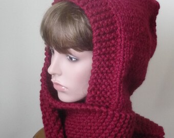 Hooded Scarf Chunky Knit Scoodie Teen Adult Warm Hooded Scarf - Cranberry - Ready to Ship - Direct Checkout