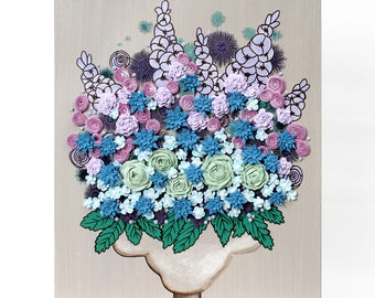 Acrylic Painting Flower Canvas Wall Art - Textured Still Life Blue and Purple - Small 16x20