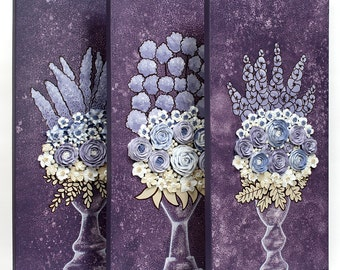 Triptych Painting Floral Still Life Artwork - Purple Sculpted Roses - Three Textured Paintings on Canvas - Medium 32x20