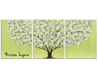 Custom Name Art for Girls Room in Green and Purple -  Textured Flowering Tree Painting Triptych Canvas - Large 50x20