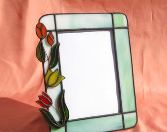 Tulips Picture Frame Stained Glass Frame Portrait Frame Glass Frame Spring Frame Red and Yellow Tulips 5 x 7 Frame Original Design Frame