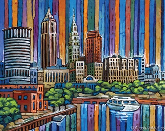 Cleveland skyline, Cuyahoga River, Terminal Tower, Key Tower, Cleveland OH, 8x10 Art Print by Anastasia Mak