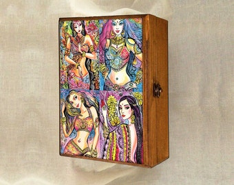 beautiful Indian woman art Indian decor bride art feminine beauty wall decor, keepsake box, treasure box, jewelry box, 7x10
