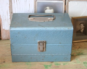 Vintage Logan De Luxe Movie Reel Chest TIN in BLUE