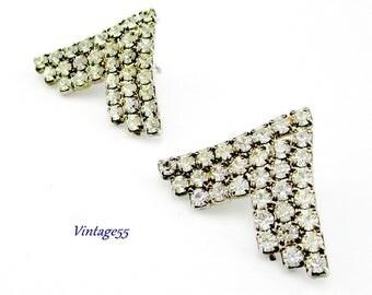 Rhinestone Earrings Chevron Pierced Post Silver tone