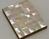 1960s MOP Mother of Pearl Brass Cigarette Case Vintage Mid Century Modern Mad Men