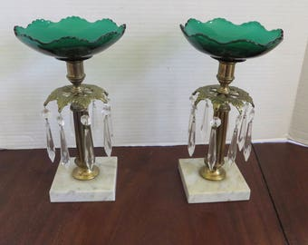 Vintage Brass/Crystal Prism Candle Holders w/ Green and Clear Glass Inserts