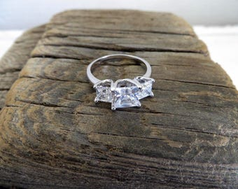 Vintage Cubic Zirconia Sterling Silver Ring Size 8 .5