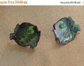 On sale Cute Vintage Green Enamel Copper Fish Screw back Earrings, (AG5)
