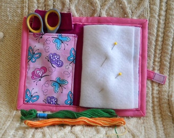 Pink Butterflies Needle Book, Needle Case, Hand Sewing Organizer