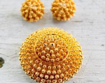 CORO Brooch Earrings SET Gold Tone