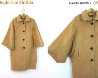 Camel Coat Long Button Down Jacket Classic Khaki Tan Coat Vintage Wide Batwing Sleeve Button Up Winter swing Coat Women's Size Large XL
