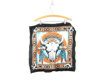 Vintage Cow Skull Bones Bandana USA Made handkerchief Hankie Rockabilly Indie Girl Hipster Animal Bull Skeleton