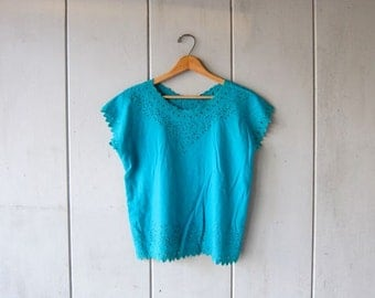 Cut Out Blouse 90s BALI Top Boxy Tee CUTWORK Blouse Blue Embroidered Top Slouchy Bohemian Hippie Tshirt  DELLS Vintage Small Medium