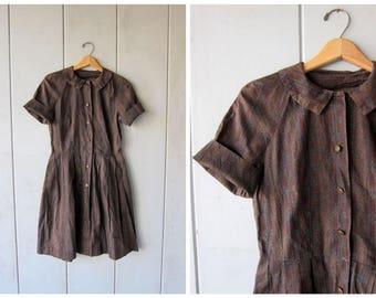 50s Day Dress Abstract Print Dress Brown Button Up Shirt Dress Midi Cotton Dress 1950s House Day Dress Louannes Vintage Womens Medium