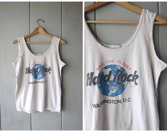 Vintage 90s Hard Rock Cafe WASHINGTON, DC Tank Top Distressed White Tee Hipster Grunge Unisex Shirt DES Women's Size Large