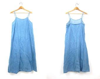 Long Light Blue Denim Dress Long Washed Out Jean Dress Vintage Boho Dress Faded Denim Hipster Preppy Women's Large