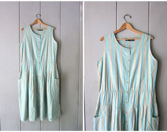 Vintage 80s Green Beige Striped Dress Simple THIN Cotton Midi Dress Button Up Sleeveless Summer Tank Dress Side Pockets Dress Womens Large
