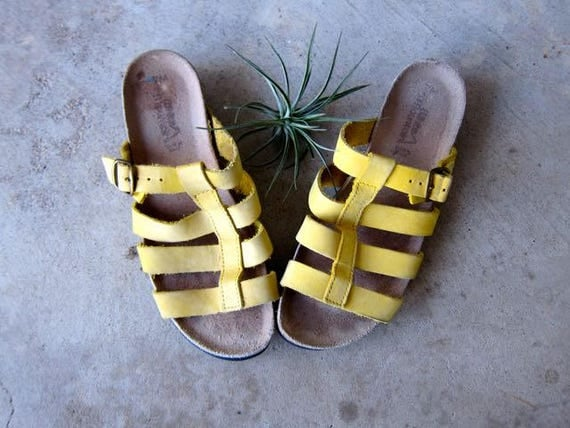 Yellow Suede Sandals Strappy Leather Peep Toe & Open Heel Sandals Hippie Boho Birkenstock Slip Ons Summer Sandals DES womens size 7
