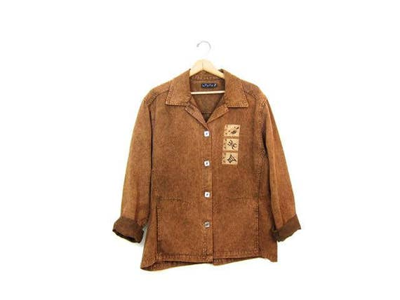 Brown Copped Jean Jacket Oversized Southwestern Jacket Slouchy Denim Jean Jacket 90s Tribal Boho Hippie Jean Jacket DES Womens XL