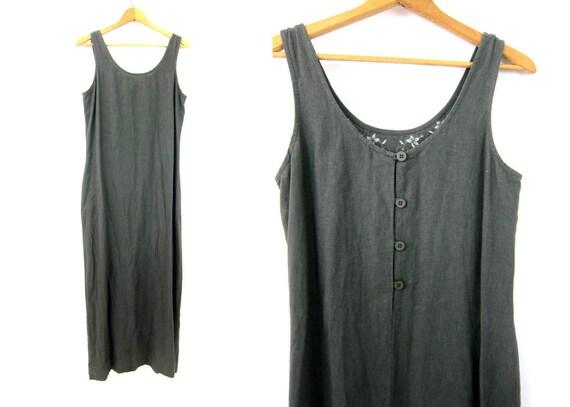 Army Green LINEN & Rayon Dress Minimal Vintage 1990s Basic Earthy Simple Dress Summer Long Maxi Dress Womens size Small