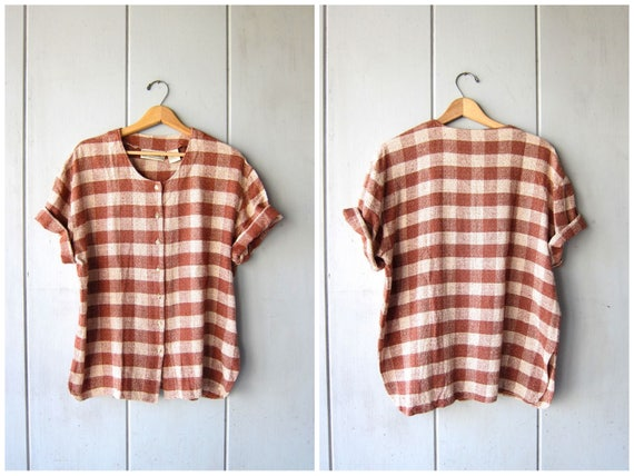 Brushed silk blouse Button Up Nubby Shirt Preppy Brown Cream Checkered 90s Minimal Top Loose Fit Short Sleeve Vintage Womens Large