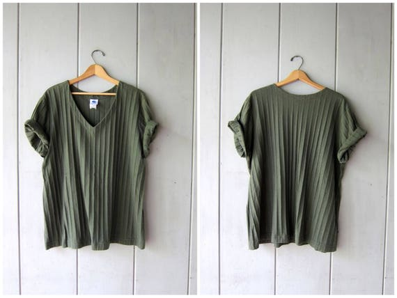 Vintage 80s Ribbed Tshirt Army Green Plain Shirt Basic Oversized Rib Tee Simple Everyday V Neck Worn In Slouchy Cotton Blend Top Womens XL