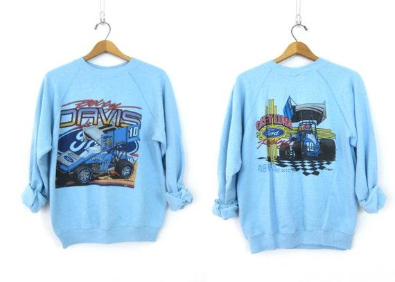 1980s Blue Racing Sweatshirt Smaller Fit Raglan sweatshirt Belen Mexico FORD Sporty Sweater Athletic Casey Luna Bobby Davis Race Car Large