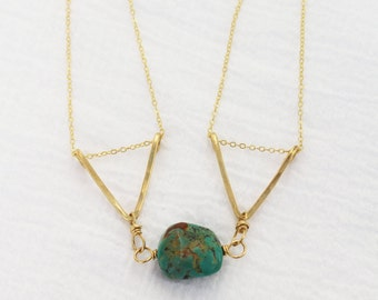 Brass Turquoise Trapeze Necklace