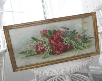 Vintage Paul de Longpre * Roses * Gilt Frame * Lily of the Valley * Antique