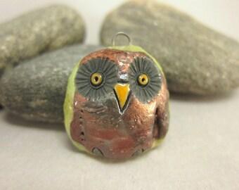 Copper Owl...Raku Pendant