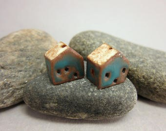 READY TO SHIP...Miniature Terracotta House Beads...Set of 2...Matte Blue / Eggshell Roof