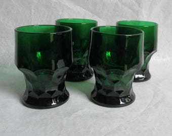 Vintage Anchor Hocking Forest Green Georgian Tumblers 4