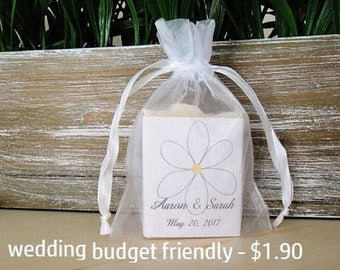 1.8 oz Wedding Soap Favors With Organza Pouch,  Wedding Favors, Personalized Wedding Label, Flowers, Guest Soap, Custom Wedding Label