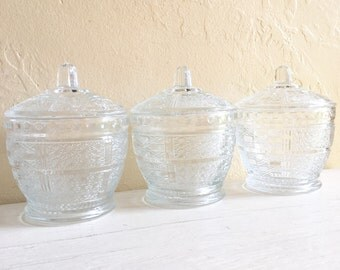 Trio of Matching Mid-Century Glass Jars with Lids Three 3